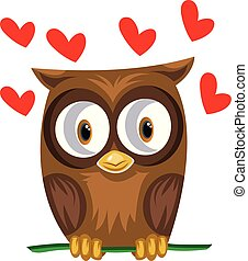 Brown owl in a green branch with red hearts vector illustration on white background.