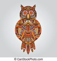 Brown owl in ornamental style for design