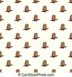 Brown owl pattern seamless