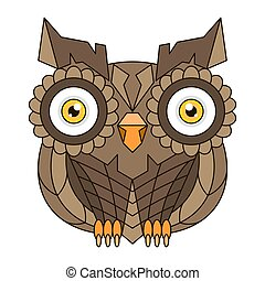 Brown owl with big eyes and feathers vector illustration