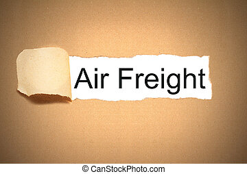 package paper carton torn to reveal white space air freight