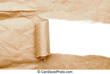 Brown package paper torn