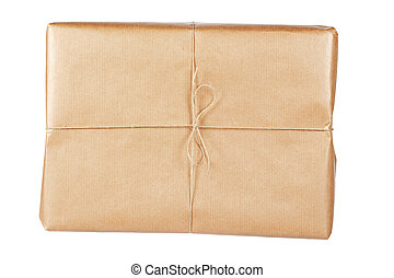 Brown package - A parcel wrapped in brown paper and tied...