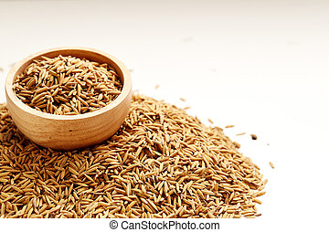 Brown paddy rice closed up