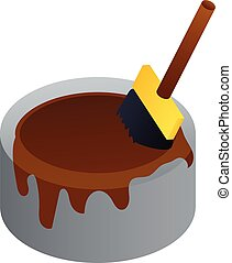 Brown paint bucket icon, isometric style