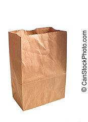 Brown Paper Bag - A brown kraft paper bag or sack with copy...