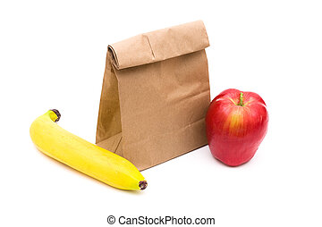 Brown Paper Bag Lunch isolated on a white background, healthy lunch