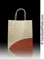 Brown paper bag on reflect floor and dark background
