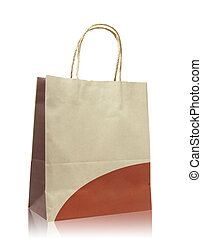 Brown paper bag on reflect floor and white background