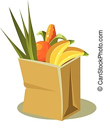 Brown Paper Bag With Food. Vector Illustration
