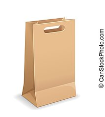 Brown paper bags with handles template mock up design, isolated on white background