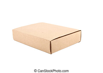 Brown paper box on white isolated background
