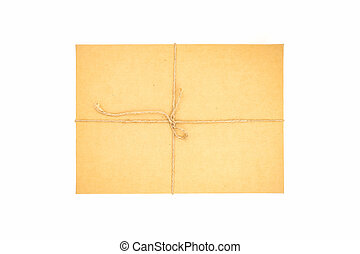 Brown paper box, tied with string.