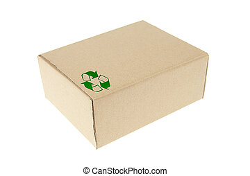 Brown paper box with recycle symbol