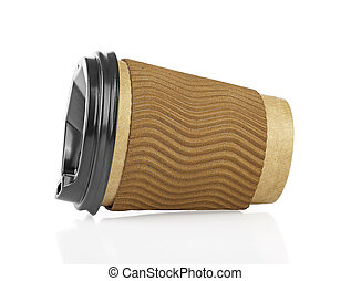 Brown paper cup of coffee on a white background