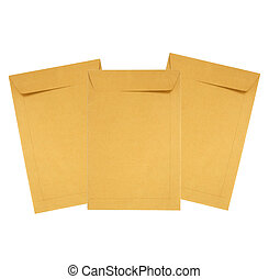 Brown paper envelope isolated on white