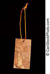 Brown paper label with string