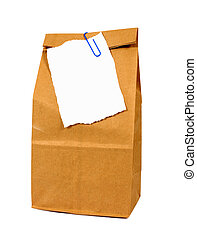Brown paper lunch bag with to do list