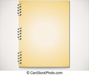 Brown paper notepad with pencil. Isolated on white background