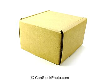 brown paper package box isolated on white background