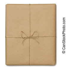 Brown paper package tied with string on a white background with a clipping path