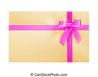 Brown paper package or gift tied with pink ribbon