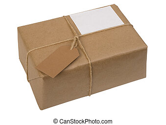 brown paper package tied with string with  label