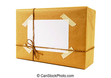 Brown paper packet tied with string