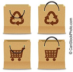 Brown Paper Shopping Bag Set