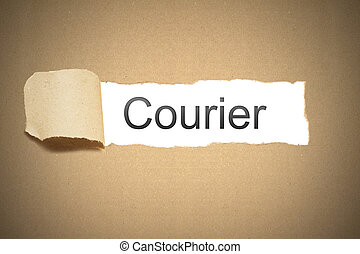 brown paper torn to reveal courier