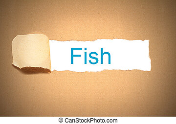 brown paper torn to reveal fish