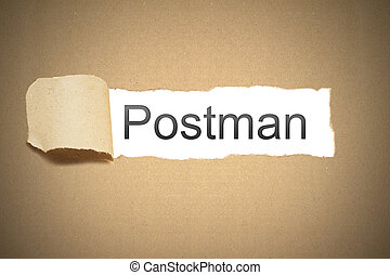 brown paper torn to reveal postman