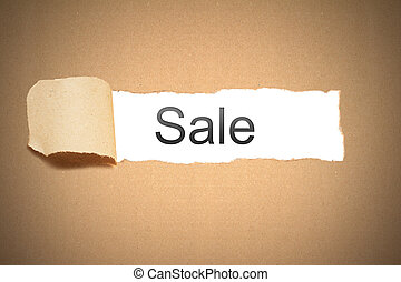brown paper torn to reveal sale