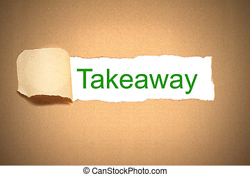brown paper torn to reveal takeaway