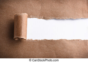 Brown paper torn to reveal white panel