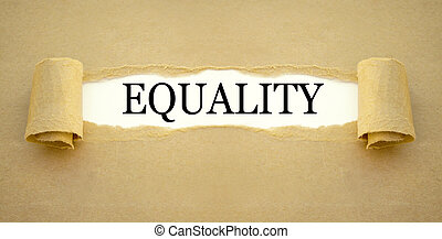Brown paper work with the word equality
