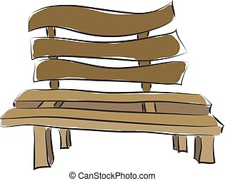 Brown park bench  illustration  color  vector on white background
