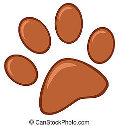 Brown Paw Print Cartoon Character