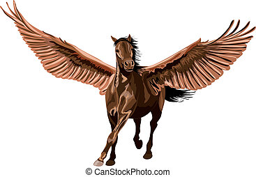 brown pegasus horse galloping with open wings.