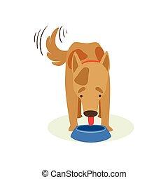 Brown Pet Dog Eating Dog Food, Animal Emotion Cartoon Illustration