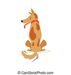 Brown Pet Dog Turned Its Back Sulking, Animal Emotion Cartoon Illustration. Cute Realistic Active Hound Vector Character Everyday Life Scene Emoji.
