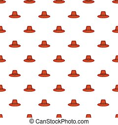 Brown pilgrim hat pattern, cartoon style