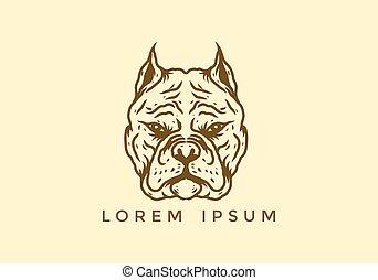 Brown pitbull head illustration drawing