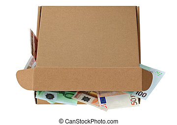 Brown pizza box with Euro banknotes