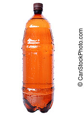brown plastic bottle with cap isolated on white