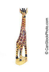 Brown Plastic Toy Giraffe on White Background