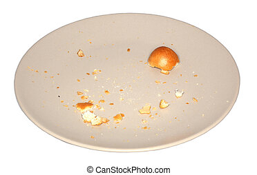 brown plate and small crumbs of bun on white background, isolated