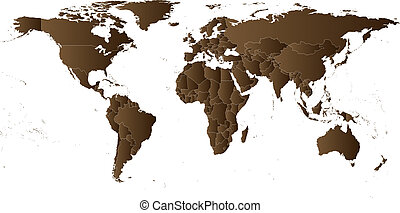 Brown Political World Map Vector
