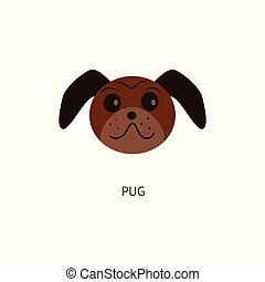 Brown pug head isolated on white background - flat cartoon drawing