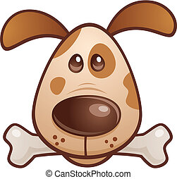 Vector cartoon illustration of a cute puppy dog with a bone in his mouth.